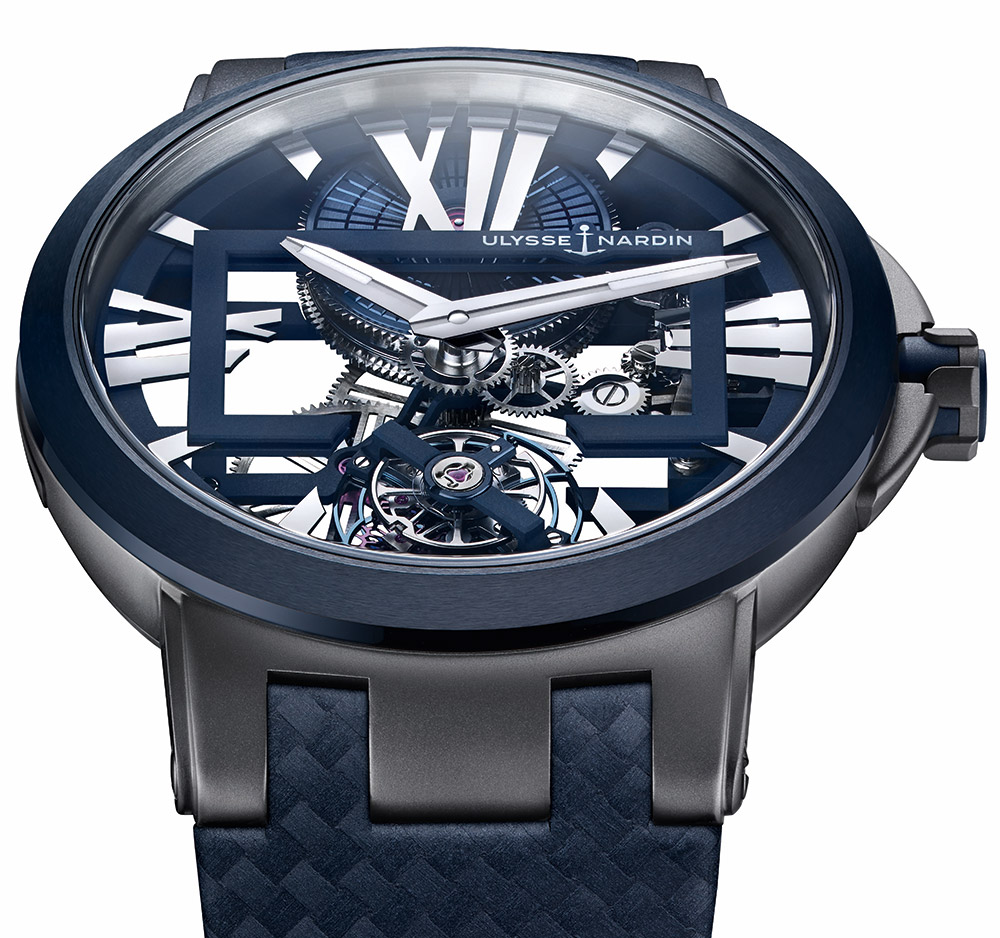 On the Wrist:Ulysse Nardin Executive Skeleton Tourbillon Blue Dial Men's Replica