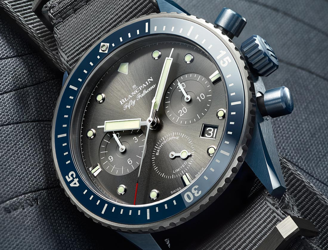 Blancpain Fifty Fathoms Bathyscaphe Flyback Chronograph Ocean Commitment II Watch Now In Blue Ceramic Case Replica Clearance