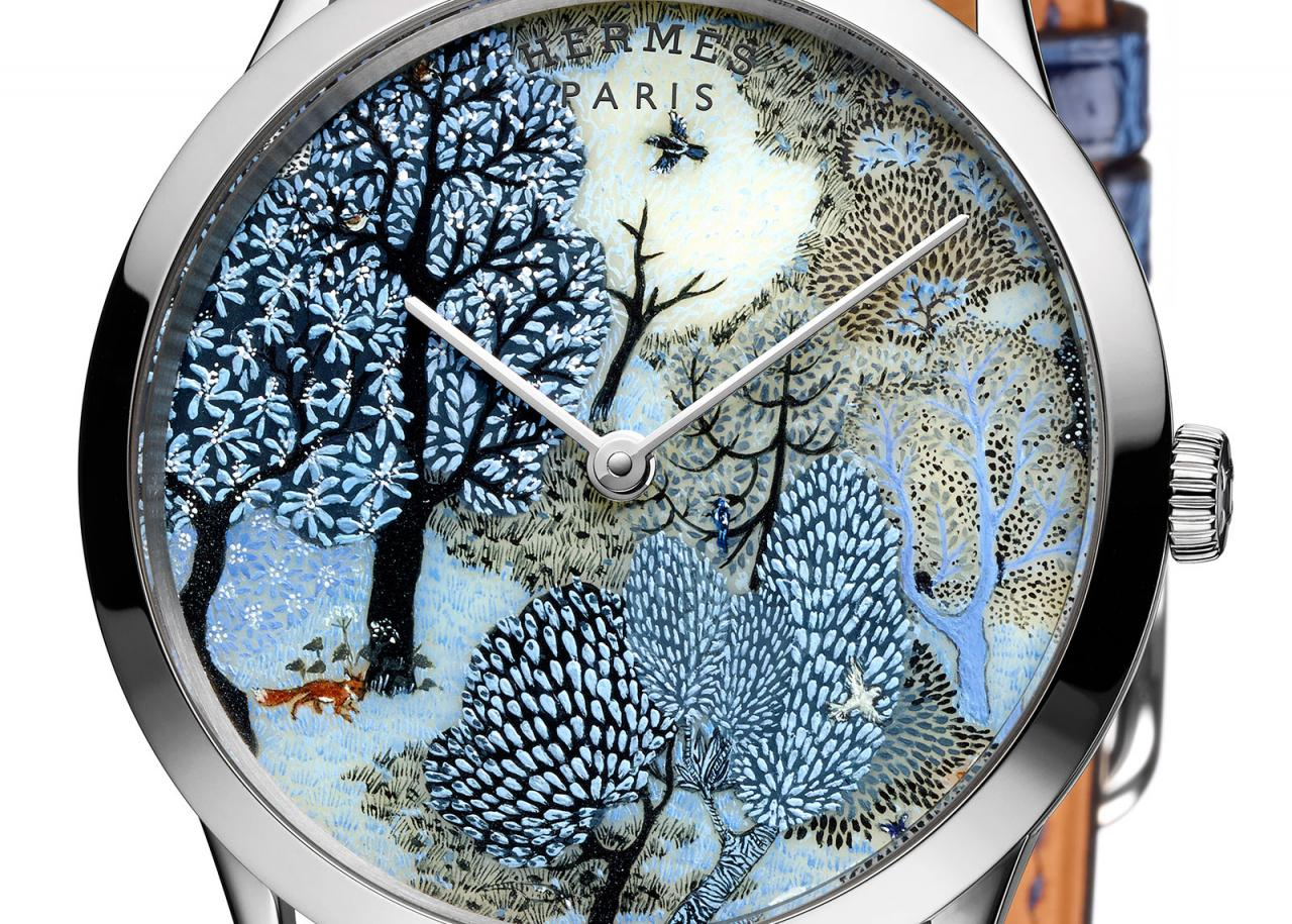 Japanese Movement Replica Hermès Showcases Miniature Painting on Limited Edition Watches